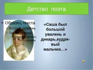 Детство поэта «Саша был большой увалень и дикарь,кудря-вый мальчик…»