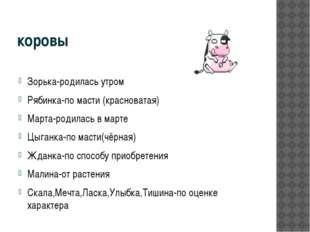 коровы Зорька-родилась утром Рябинка-по масти (красноватая) Марта-родилась в