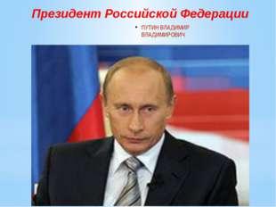ПУТИН ВЛАДИМИР ВЛАДИМИРОВИЧ Президент Российской Федерации