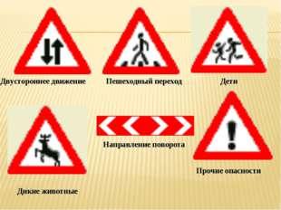 Двустороннее движение Пешеходный переход Дети Дикие животные Прочие опасности