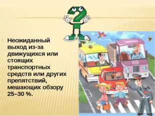 Неожиданный выход из-за движущихся или стоящих транспортных средств или други