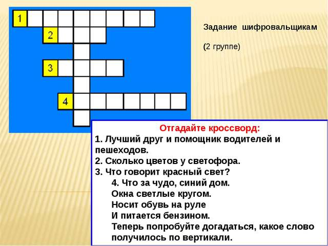 Задание шифровальщикам (2 группе) Отгадайте кроссворд: 1. Лучший друг и помощ...