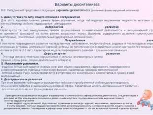 Варианты дизонтегинеза В.В. Лебединский представил следующие варианты дизонто