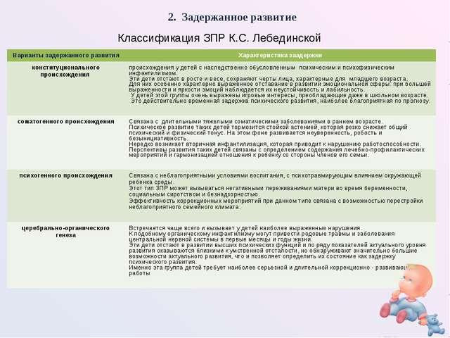 2. Задержанное развитие Классификация ЗПР К.С. Лебединской Варианты задержанн...