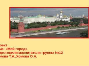 Проект Тема: «Мой город» Подготовили:воспитатели группы №12 Хомова Т.А.,Хомов