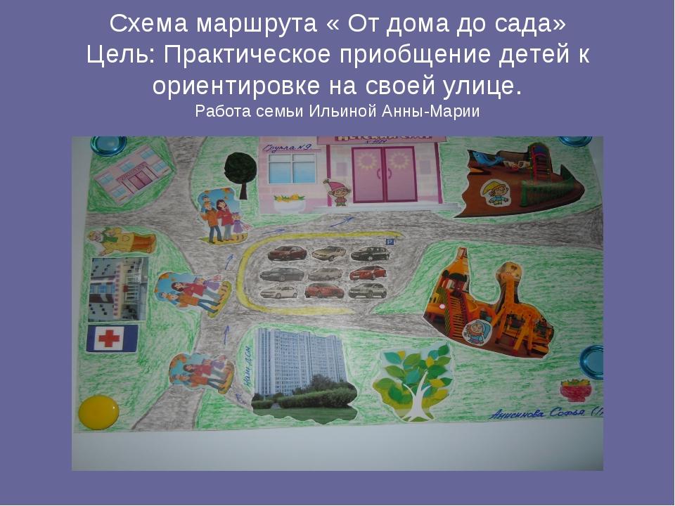 Схема маршрута « От дома до сада» Цель: Практическое приобщение детей к ориен...
