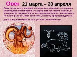 Овен 21 марта – 20 апреля Овну лучше всего подходят профессии, связанные с по