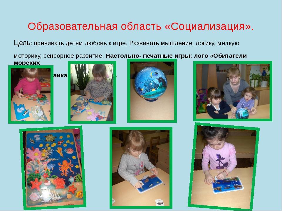 Образовательная область «Социализация». Цель: прививать детям любовь к игре....