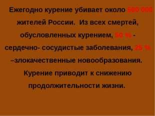 Ежегодно курение убивает около 500 000 жителей России. Из всех смертей, обус