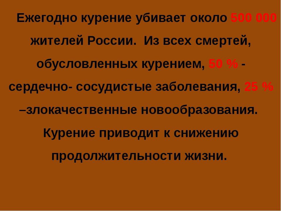 Ежегодно курение убивает около 500 000 жителей России. Из всех смертей, обус...