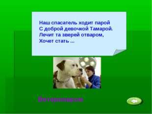 Ветеринаром Наш спасатель ходит парой С доброй девочкой Тамарой. Лечит та зве