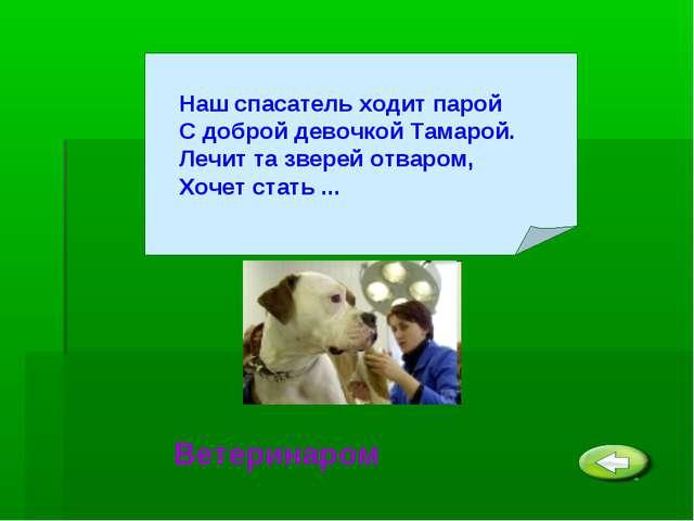 Ветеринаром Наш спасатель ходит парой С доброй девочкой Тамарой. Лечит та зве...
