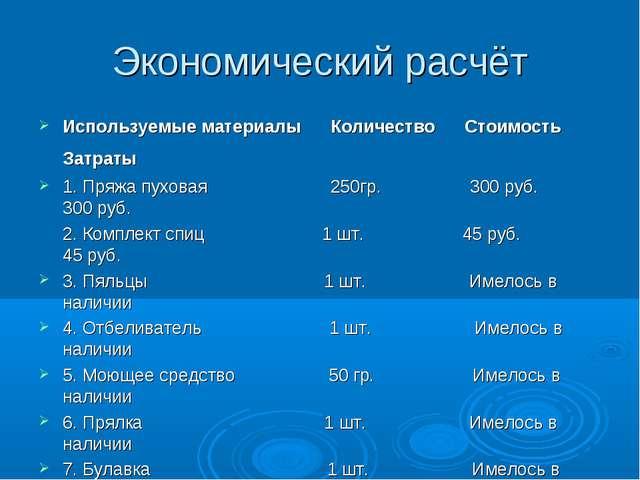 Экономический расчёт Используемые материалы Количество Стоимость Затраты 1. П...