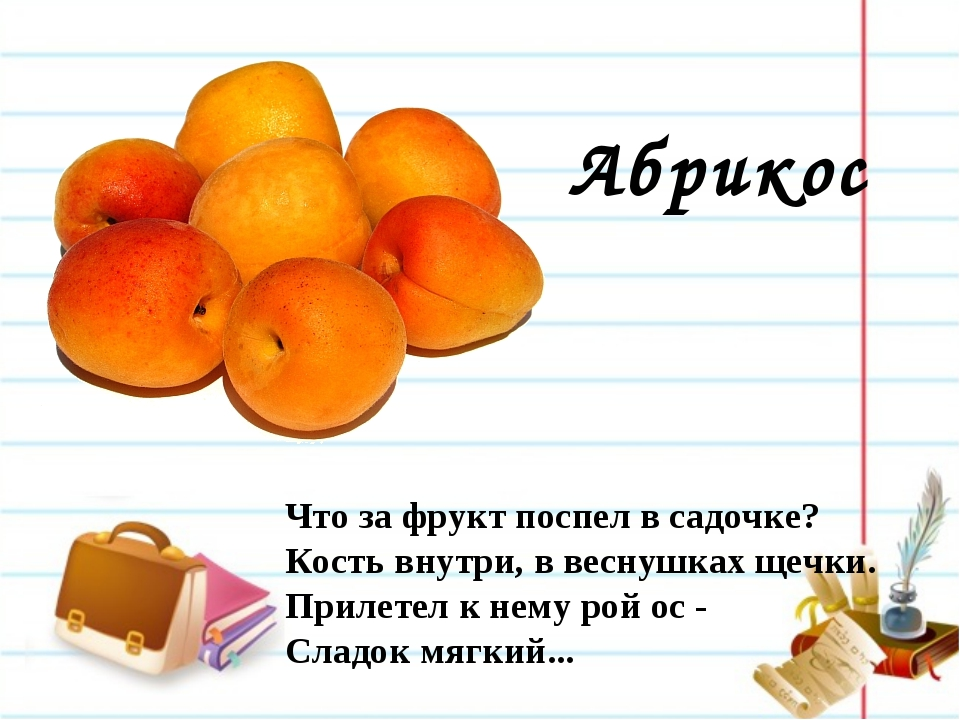 Абрикос Что за фрукт поспел в садочке? Кость внутри, в веснушках щечки. Приле...