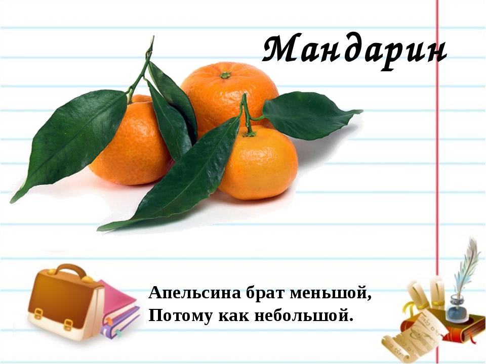Мандарин Апельсина брат меньшой, Потому как небольшой.