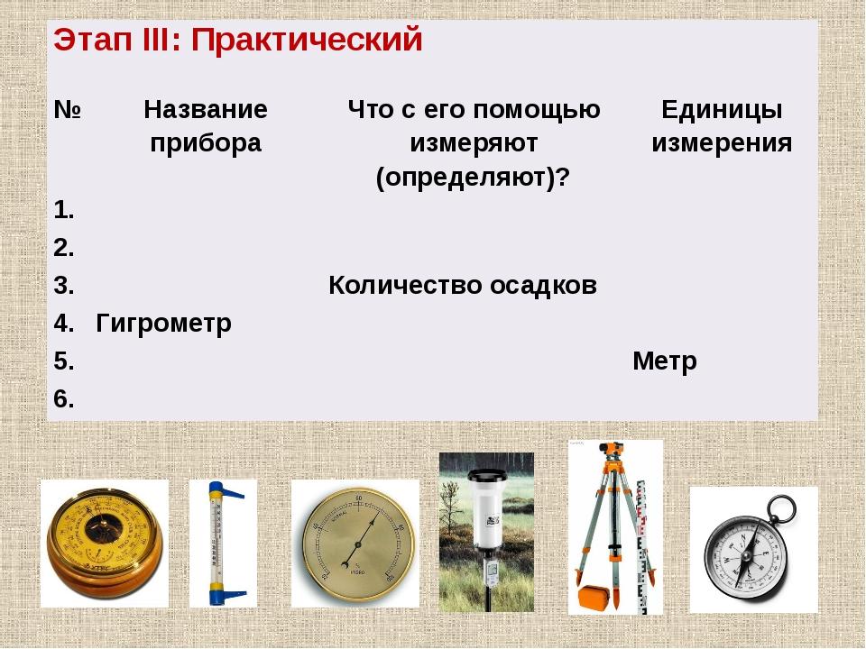 №1 №2 №3 №4 №5 №6 ЭтапIII: Практический № Название прибора Что с его помощью...