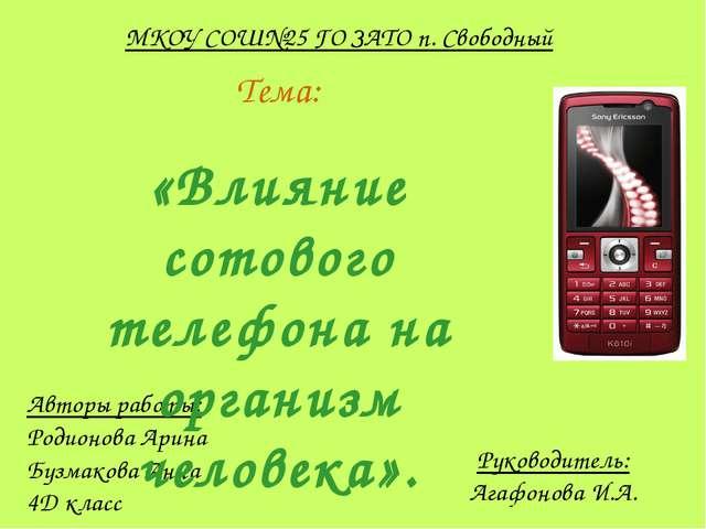 Руководитель: Агафонова И.А. МКОУ СОШ№25 ГО ЗАТО п. Свободный Авторы работы:...