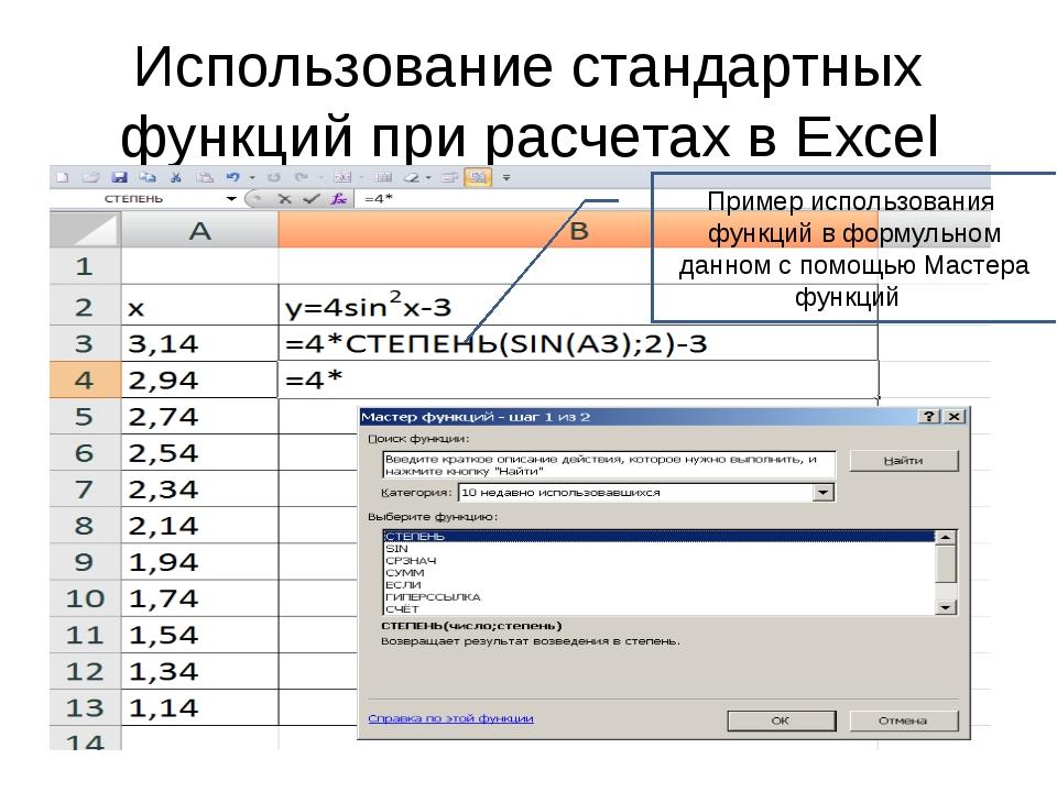 Использование стандартных функций при расчетах в Excel Пример использования ф...
