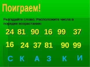 Разгадайте слово. Расположите числа в порядке возрастания: 16 24 37 81 90 99