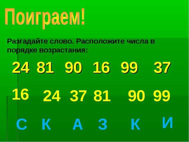 Разгадайте слово. Расположите числа в порядке возрастания: 16 24 37 81 90 99...