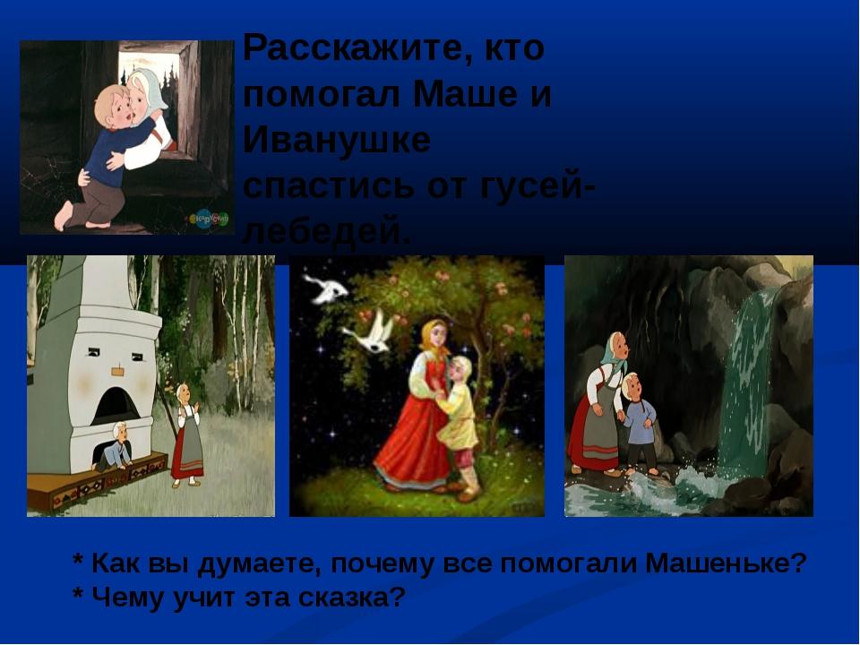 Расскажите, кто помогал Маше и Иванушке спастись от гусей-лебедей. * Как вы д...