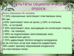 Результаты социологического опроса: Всего опрошено 45 человек. У 33% опрошенн