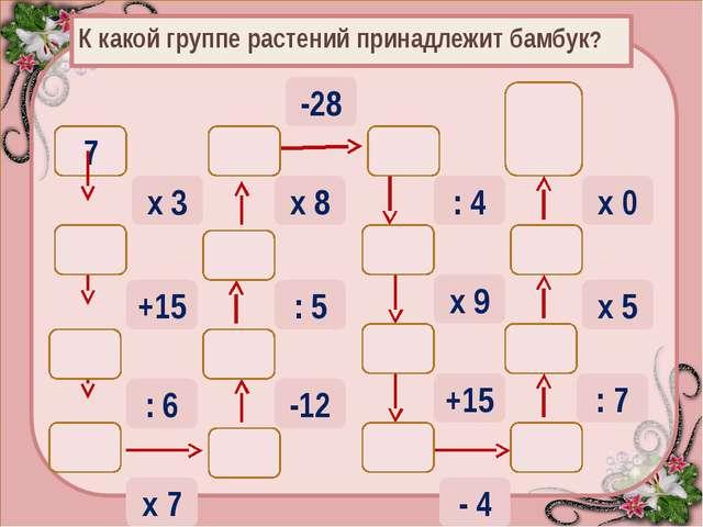 К какой группе растений принадлежит бамбук? 7 х 3 36 +15 21 6 : 6 42 30 6 48...