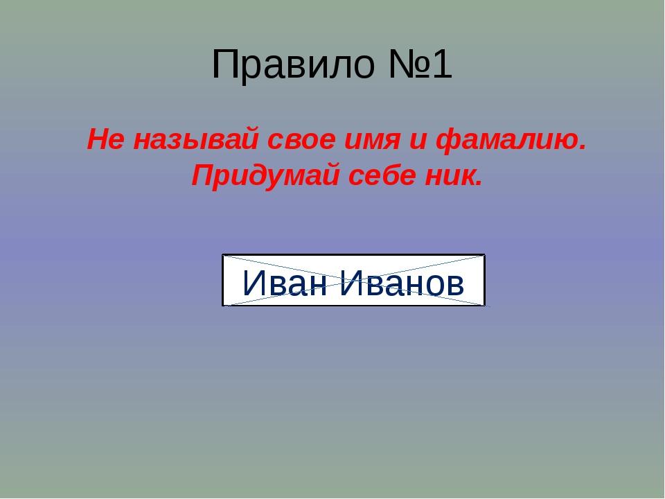 Правило №1 Не называй свое имя и фамалию. Придумай себе ник. Иван Иванов