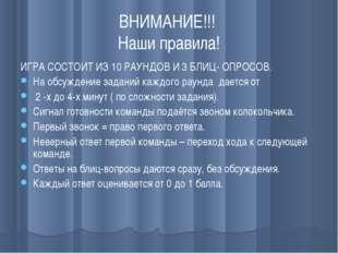 ВНИМАНИЕ!!! Наши правила! ИГРА СОСТОИТ ИЗ 10 РАУНДОВ И 3 БЛИЦ- ОПРОСОВ. На об