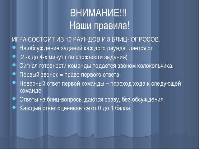 ВНИМАНИЕ!!! Наши правила! ИГРА СОСТОИТ ИЗ 10 РАУНДОВ И 3 БЛИЦ- ОПРОСОВ. На об...