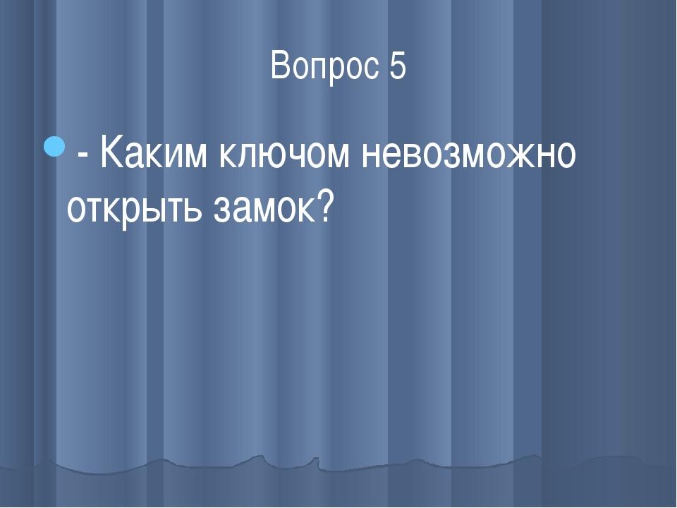 Вопрос 5 - Каким ключом невозможно открыть замок?