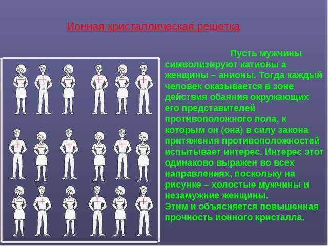Пусть мужчины символизируют катионы а женщины – анионы. Тогда каждый челове...