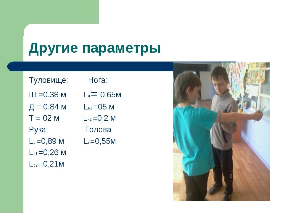 Другие параметры Туловище: Нога: Ш =0.38 м Lн = 0,65м Д = 0,84 м Lн1 =05 м Т...