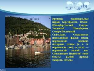 Крупные национальные парки: Бергефьелль, Южно-Шпицбергенский, Северо-Западный