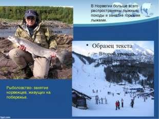 Рыболовство- занятие норвежцев, живущих на побережье. В Норвегии больше всего