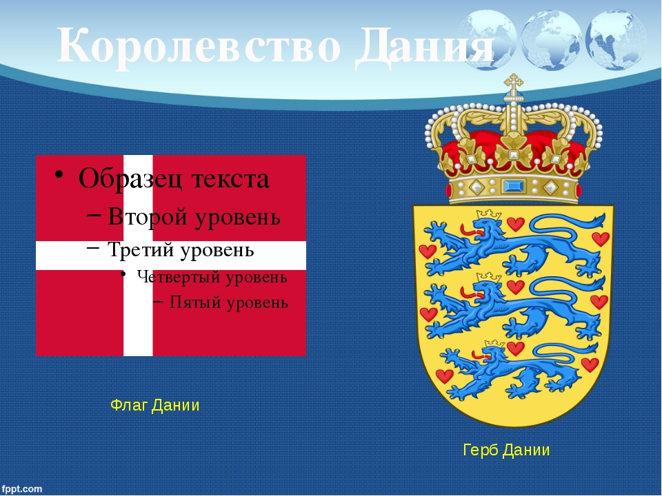 Королевство Дания Герб Дании Флаг Дании
