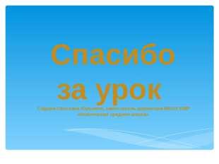 Спасибо за урок Садова Светлана Юрьевна, заместитель директора МБОУ ВМР «Новл