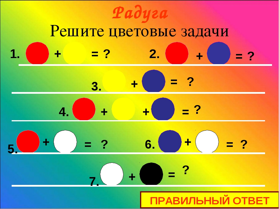 + + + + + + + = = = = = = = ? ? ? ? ? ? ? + 1. 2. 3. 4. 5. 7. 6. Решите цвето...