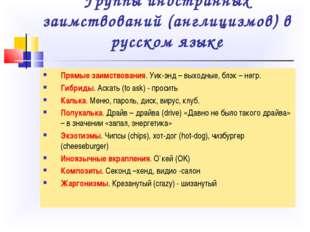 Группы иностранных заимствований (англицизмов) в русском языке Прямые заимств