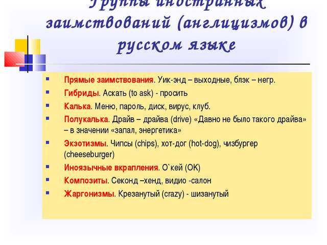Группы иностранных заимствований (англицизмов) в русском языке Прямые заимств...