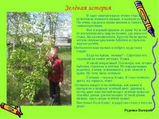 Зелёная история В одно замечательное летнее утро в семье кузнечиков появилс