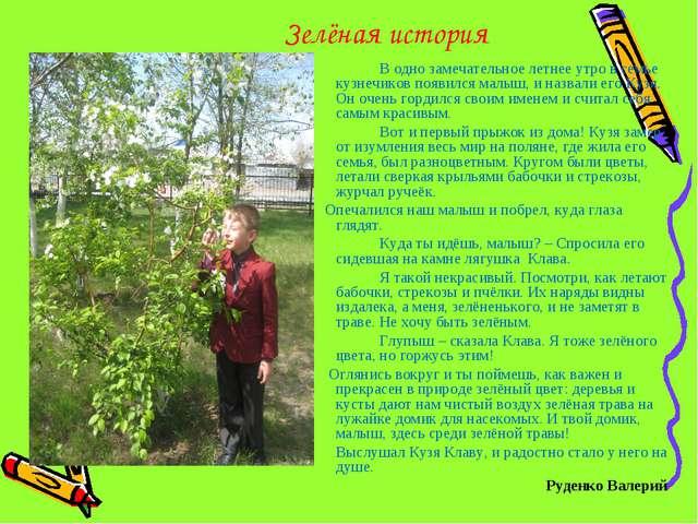 Зелёная история В одно замечательное летнее утро в семье кузнечиков появилс...