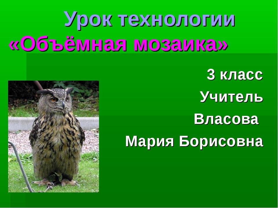 Урок технологии «Объёмная мозаика» 3 класс Учитель Власова Мария Борисовна
