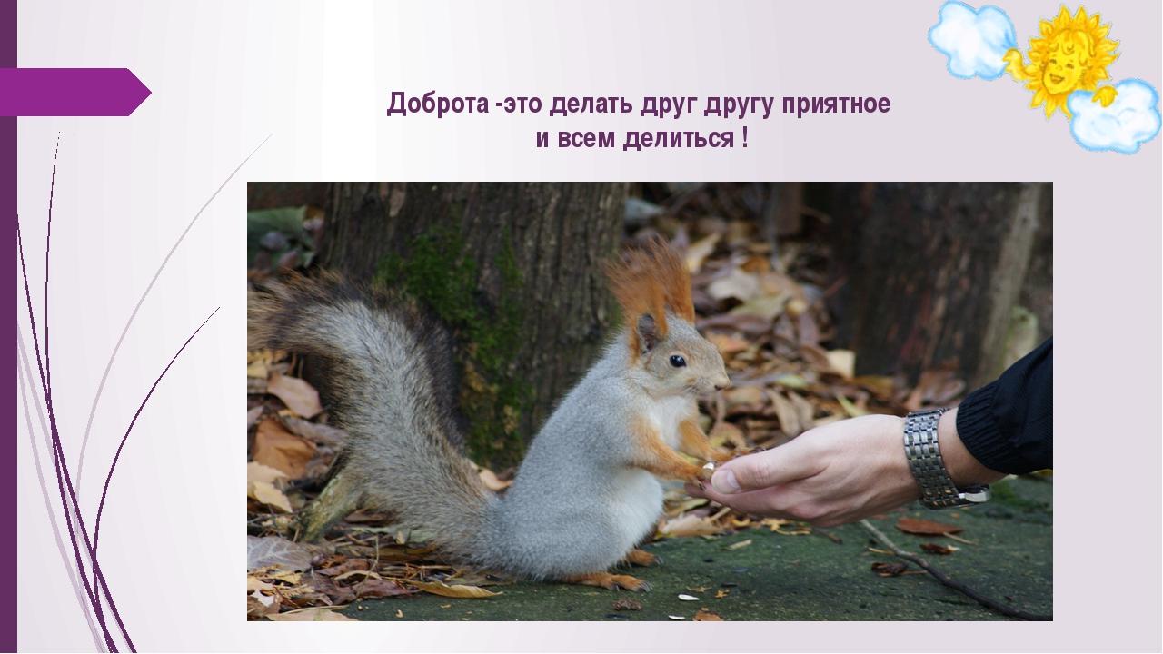 Доброта -это делать друг другу приятное и всем делиться !