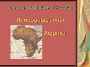 Урок по географии в 7 классе. Природные зоны Африки
