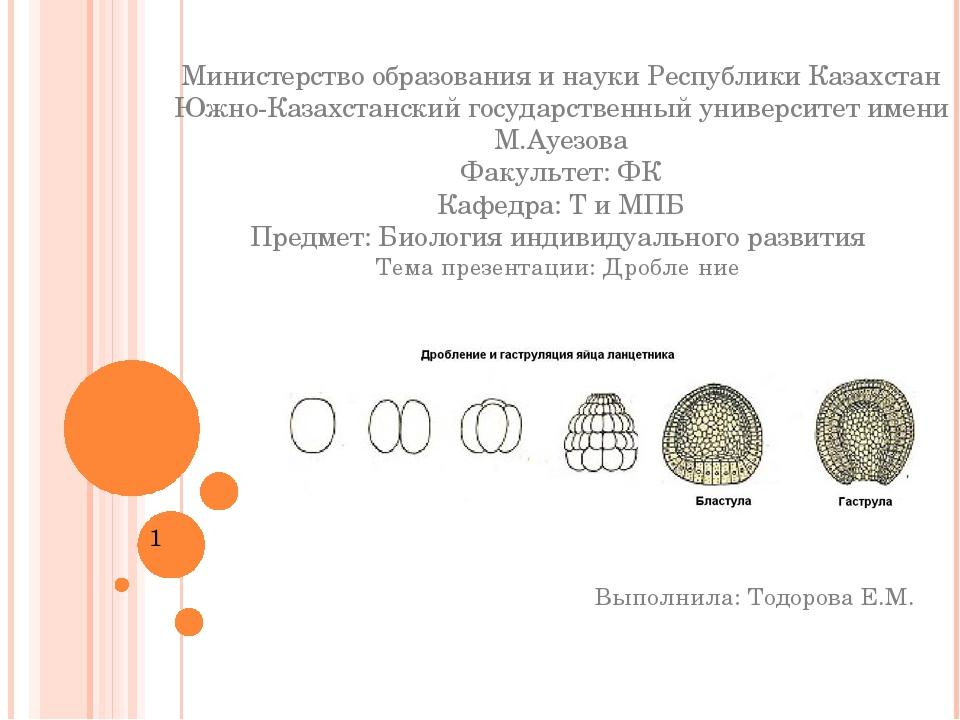 Министерство образования и науки Республики Казахстан Южно-Казахстанский госу...