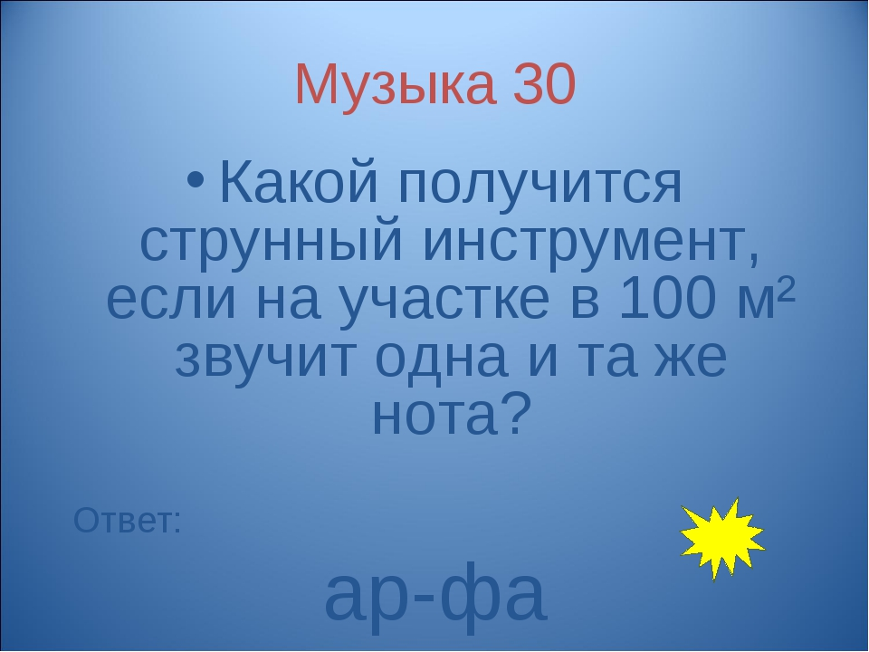 Музыка 30 Какой получится струнный инструмент, если на участке в 100 м² звучи...