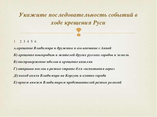 2 3 4 5 6 А) крещение Владимира и дружины и его венчание с Анной Б) крещение...
