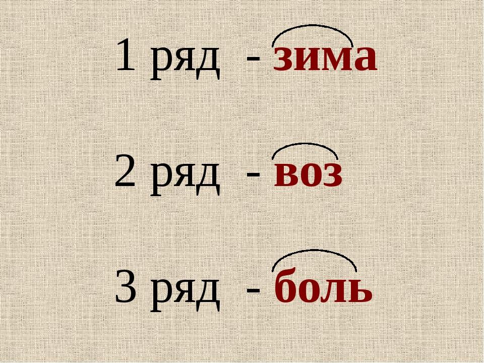 1 ряд - зима 2 ряд - воз 3 ряд - боль