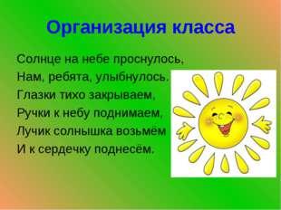 Организация класса Солнце на небе проснулось, Нам, ребята, улыбнулось. Глазки